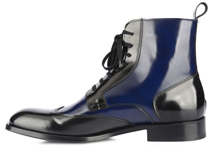 Scarpe Eleganti Uomo Polacchino Bicolore Nero Blu Vintage Men's Dress Shoes Boot