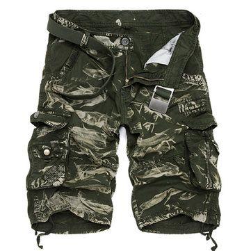 Summer Mens Cotton Cargo Shorts Casual Multi Pocket Shorts Pure Color Cargos Shorts