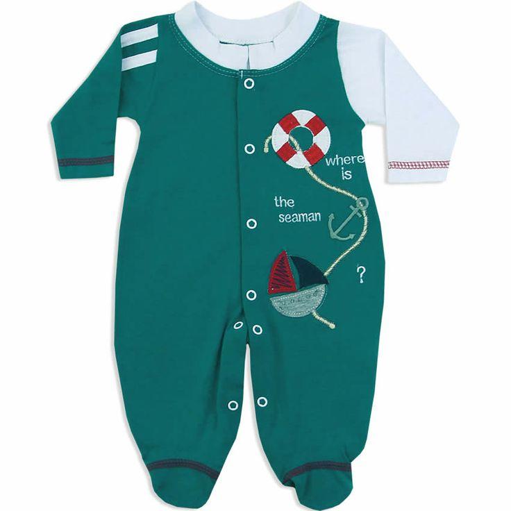 Macacão Longo Masculino para Bebê Verde - Travessus :: 764 Kids | Roupa bebê e infantil