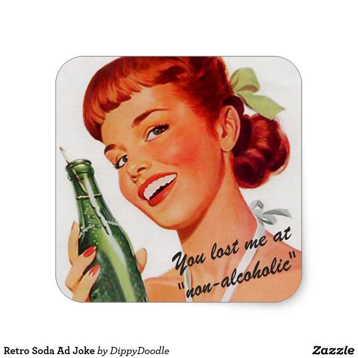 Retro Soda Ad Joke Square Sticker