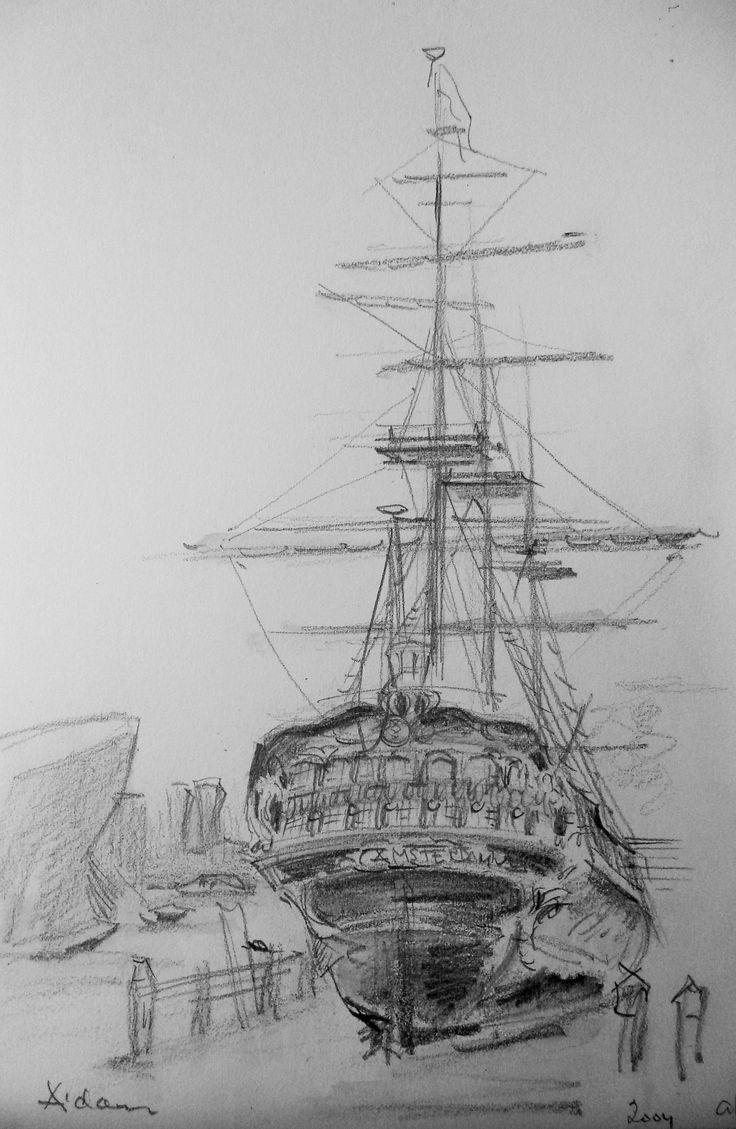 """Sail - Schip """"De Amsterdam"""", potlood op  papier, tekening 14x20"""
