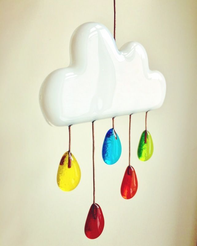 Fused glass cloud with rainbow raindrops £17.00