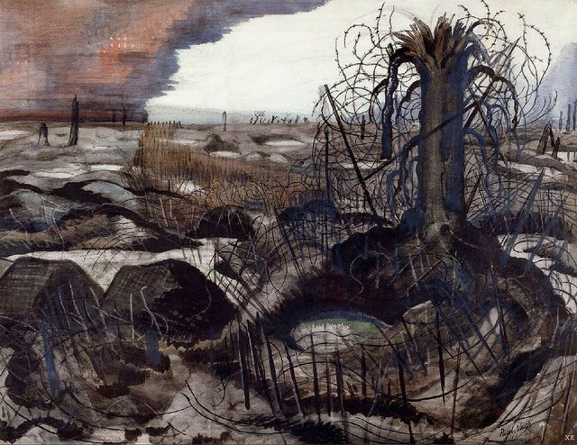 1918 ... no-man's land by Paul Nash (British). Paul Nash is very inspiring to me. Even though this is WW1, I feel this can still reflect times of WW2