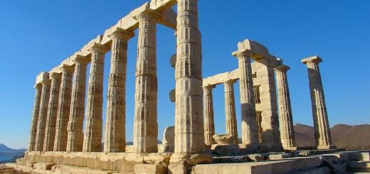 The Temple of Poseidon was built in 444 BC, the same time as the Parthenon in Athens. The temple sits 200 feet above the sea at the southern-most tip of Attica peninsula.
