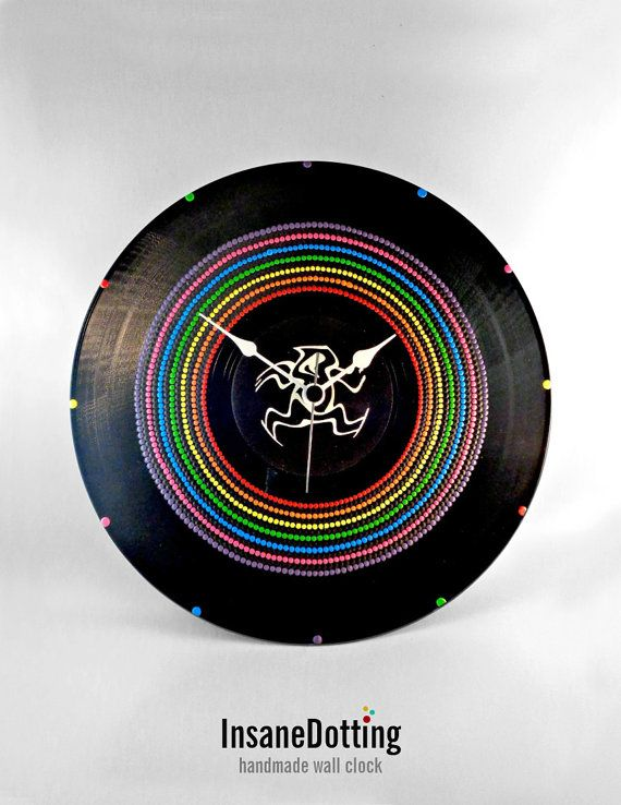 Rainbow Colors Vinyl Clock Hand Painted Upcycled by InsaneDotting