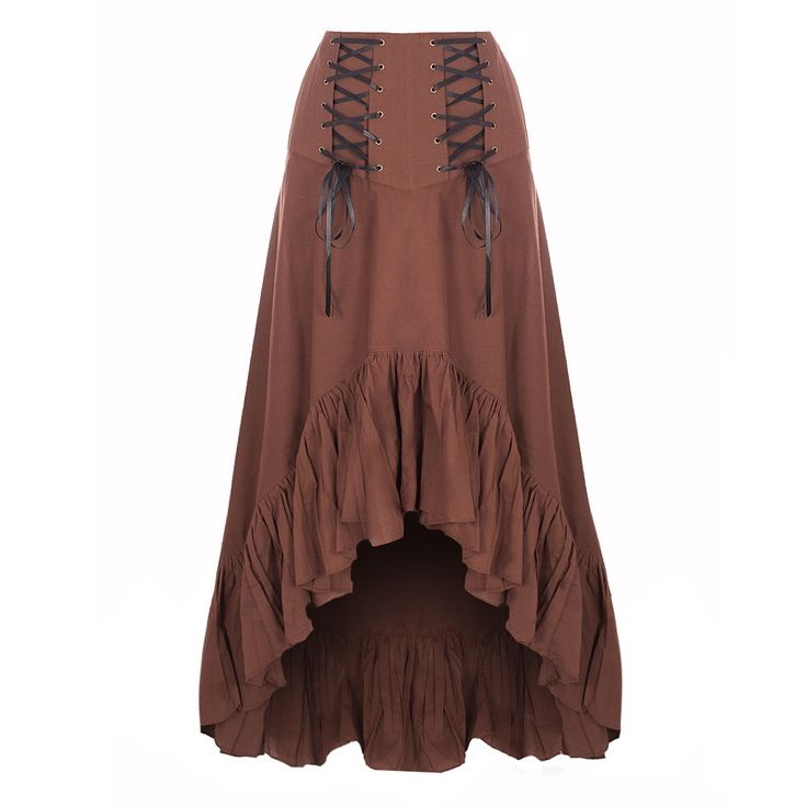 A beautiful brown high-low steampunk skirt, featuring corset style lacing on the waist band and a ruffled trim around the bottom, perfect to create a great steampunk maiden.   Dry Clean Only