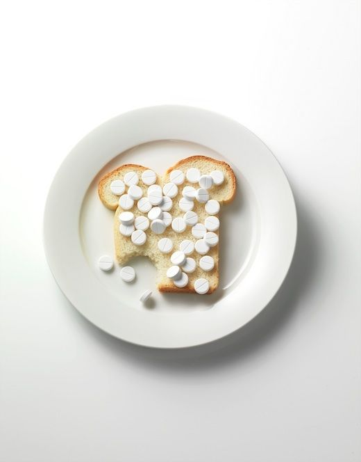 Human interest in JAN Magazine Photography by Frank Brandwijk I 'Daily Pills' 'Food' 'Pills on Sandwich on Only White Plaite'  'Photo Illustration' 'Fun' 'All Whites'