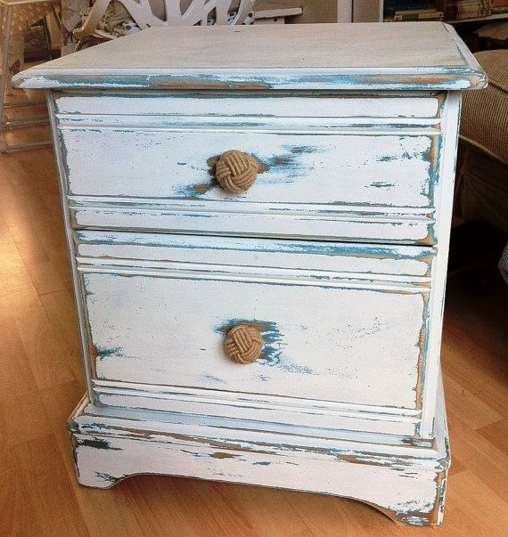 Nautical distressed shabby chic side table, bedside table, lamp table. deep drawers, good storage