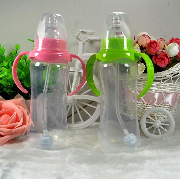 240ミリリットルcute babyボトル幼児新生児子供学ぶ給餌飲料ハンドルボトル子供わらジュース水ボトルトレーニングカップ