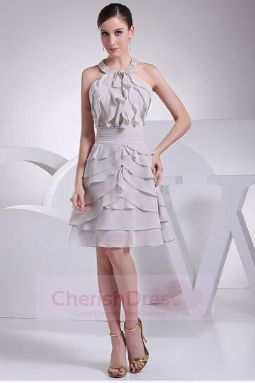 A-Line Chiffon Halter Knee Length Dress with Ruffles