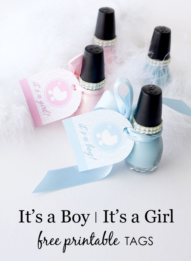{Free Printable} It's a Boy/It's a Girl Tags - perfect for party favors! #babyshower #partyfavors: Girls Free, Girls Babyshower Ideas, Baby Boys Shower Favors Tags, Free Printable Tags, Projects Nurseries, Free Babyshower Printable, Babyshower Ideas Girls Gifts, Boys Babyshower Games, Baby Shower