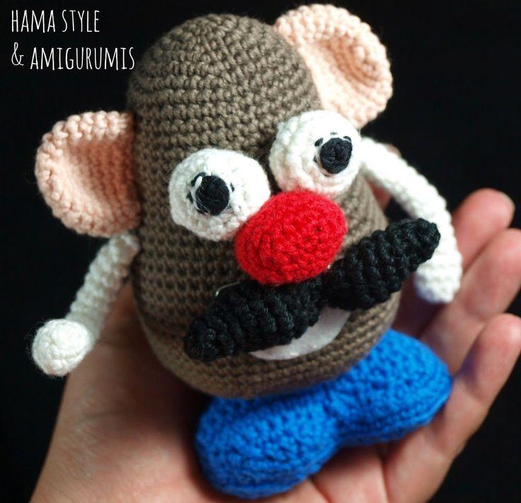 Mr.Potato Amigurumi - Patrón Gratis en Español aquí:   http://hamabeadstyle.blogspot.com.es/2015/03/mr-potato-amigurumi-patron-gratis.html