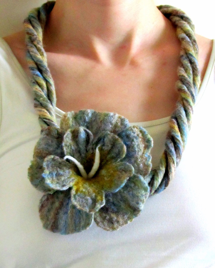 Felted Necklace: Wet Felted Wool Cord Felt Jewelry Handmade on Etsy