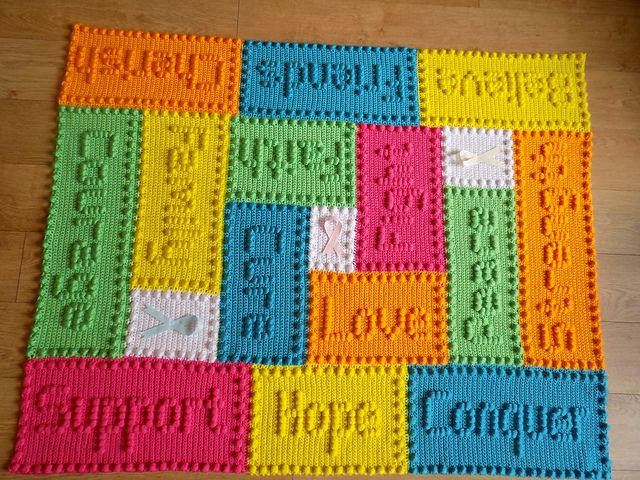 Knitting Pattern For Unicorn Blanket : Ravelry: Cancer Support Motif Lap Blanket pattern by Peach ...