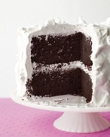 Devil's Food Cake with Fluffy Frosting: my favorite cake of all. The cake layers can be made up to two days ahead; wrap cooled cakes tightly in plastic and keep at room temperature. Frost the cake up to three hours before serving.