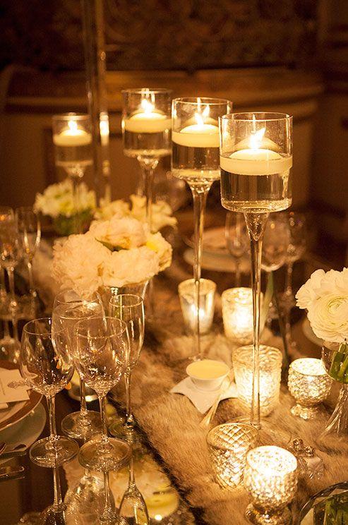 Wedding candles lighting reception decor