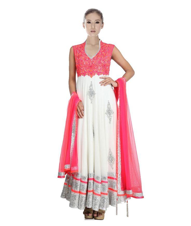 Georgette Thread Work Cream & Pink Semi Stitched Long Anarkali Suit - 83