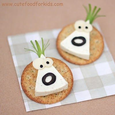 """""""Cheese monsters"""" made from Laughing Cow wedges.  From the Cute Food for Kids blog."""