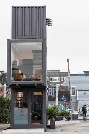 Concept store constructed from three black 8' x 9.6' x 40' shipping containers in Hayes Valley, San Francisco. Click image for more info & visit the Slow Ottawa 'Reuse It' board for more upcycle ideas.