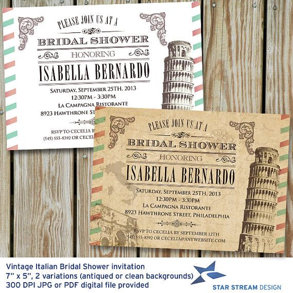 189 best images about pizza italian party idea 39 s on for Italian bridal shower invitations