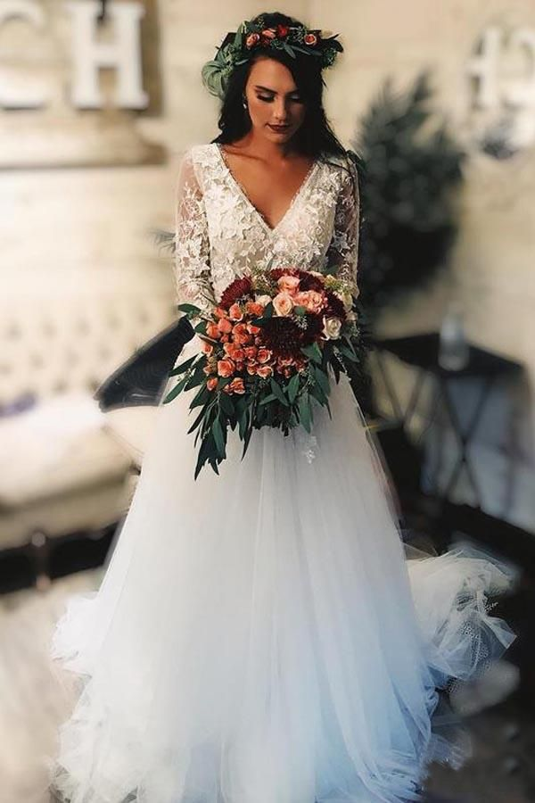 A Line Long Sleeves Tulle Wedding Dress With Lace Applique Wd324