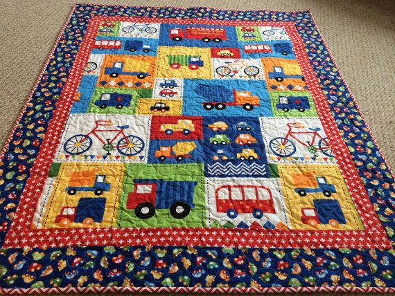 Baby Boy Quilt Cars Trucks Bicycles Ready Set Go