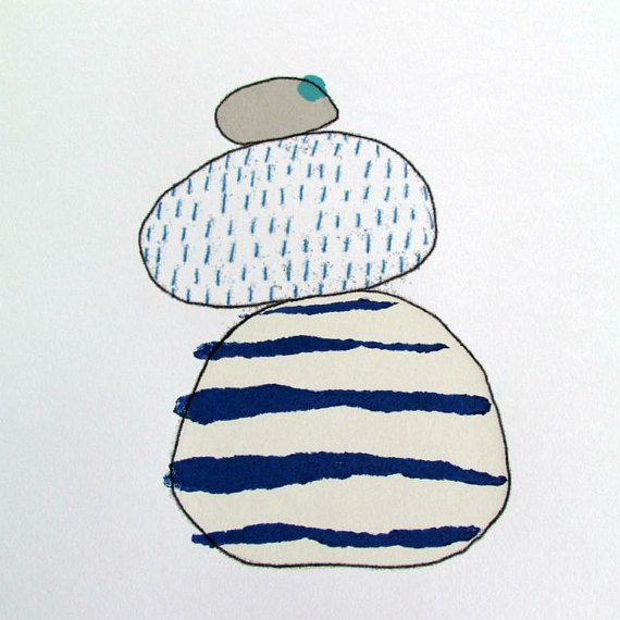 Pebbles in blue grey and turquoise. Handmade by KathyHuttonPrints