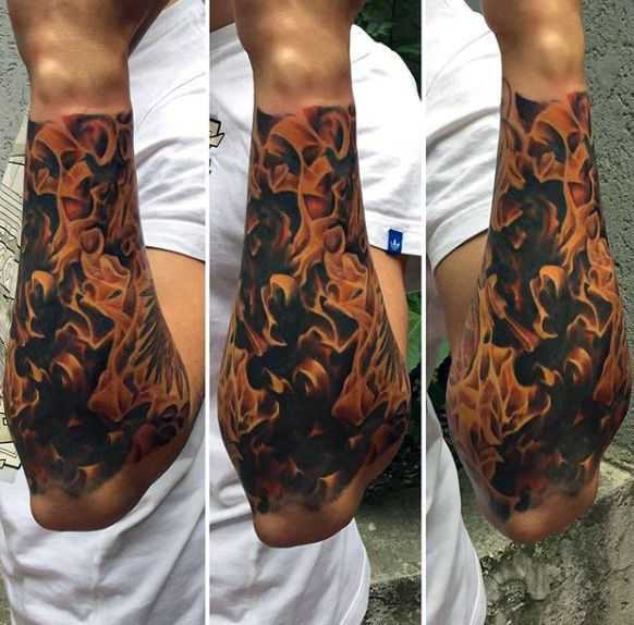 Forearm Fblue Flame Tattoos For Men