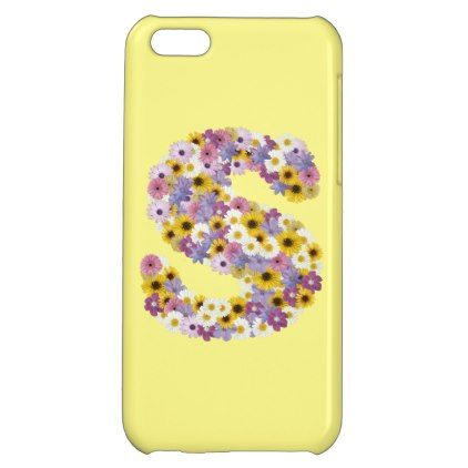 Monogram letter S Cover For iPhone 5C - floral style flower flowers stylish diy personalize