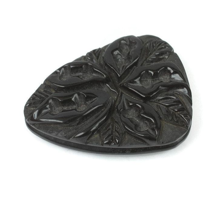 Black Bakelite Dress Clip Carved Leaf Design Vintage #bakelite #dressclip #black #jewelry