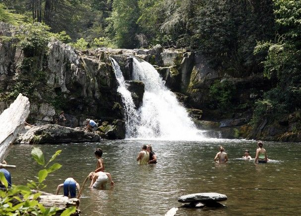 Abrams Falls, an old-fashioned swimming hole in the Smoky Mountains.