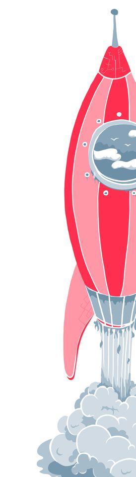 Rocket! Illustrazione vettoriale a due colori