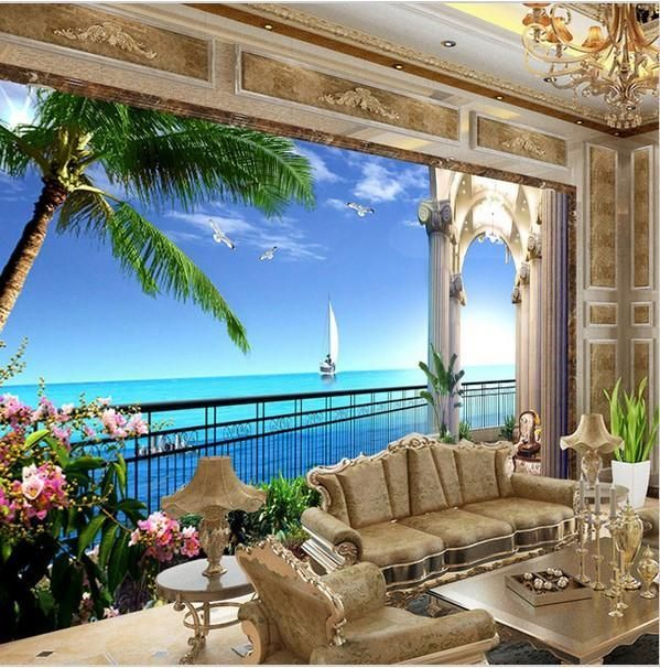 Window Balcony Wallpaper 3D Sea View Sailboat Palm Trees Mural
