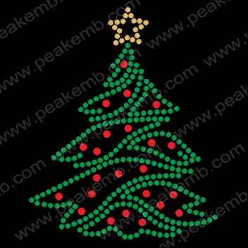 Christmas Tree Rhinestone Motif-Rhinestone Transfers