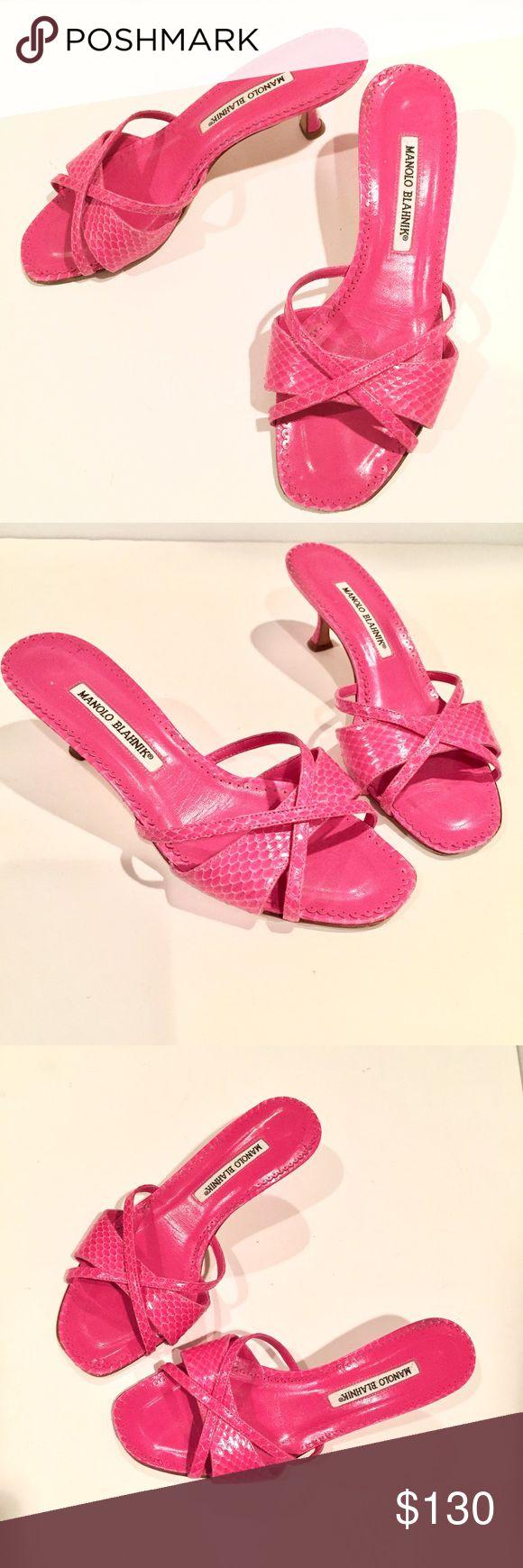 Pink Manolo Blahnik Sandals, Slides Snakeskin 38.5 Stunning pair of Manolo Blahnik snakeskin slide sandals with kitten heels! Size 38.5. Good used condition, please view all photos. Manolo Blahnik Shoes Sandals #manoloblahnikheelsfashion