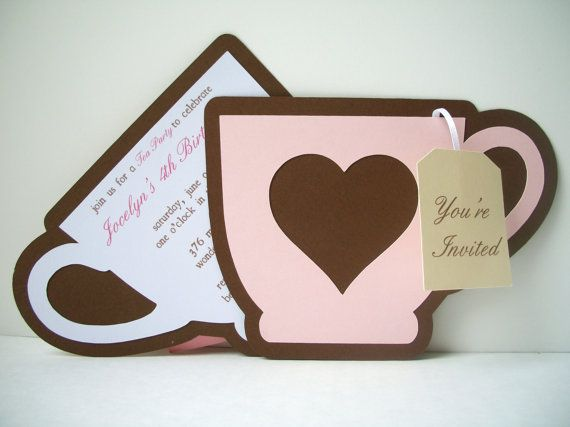 Tea Party Invitation  Pack of 10 by bellybeancards on Etsy
