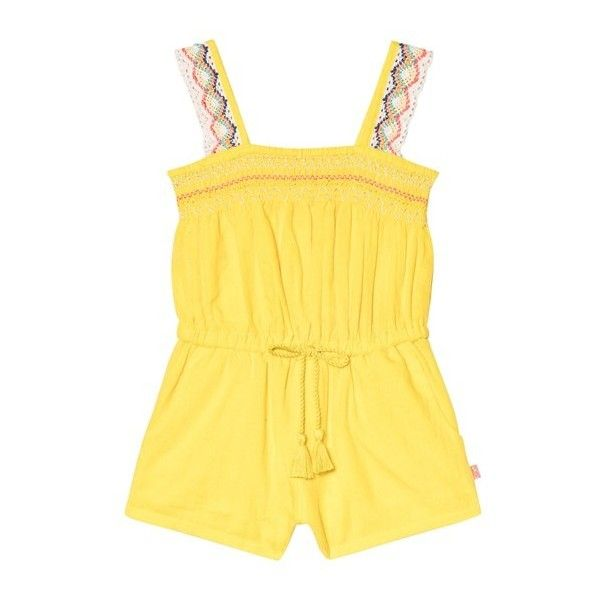 Billieblush Yellow Playsuit with Crochet Lace Straps (732.345 IDR) ❤ liked on Polyvore featuring jumpsuits, rompers, yellow rompers, billieblush, playsuit romper, yellow romper and crochet romper