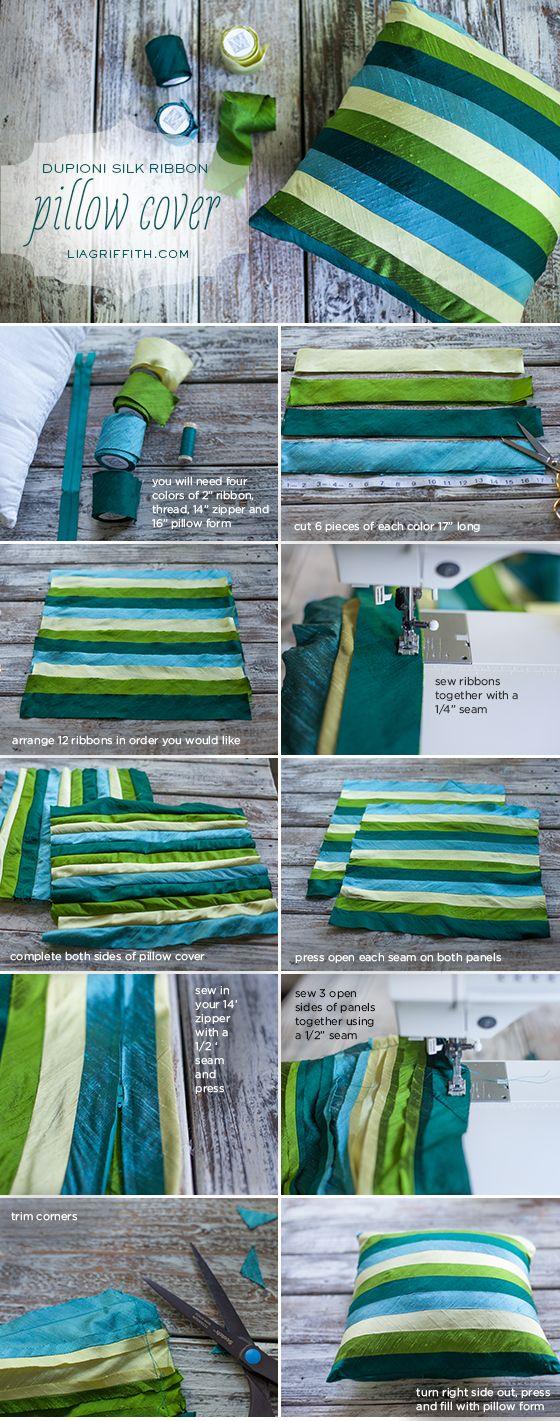 DIY Midori Dupioni Silk Ribbon Pillow
