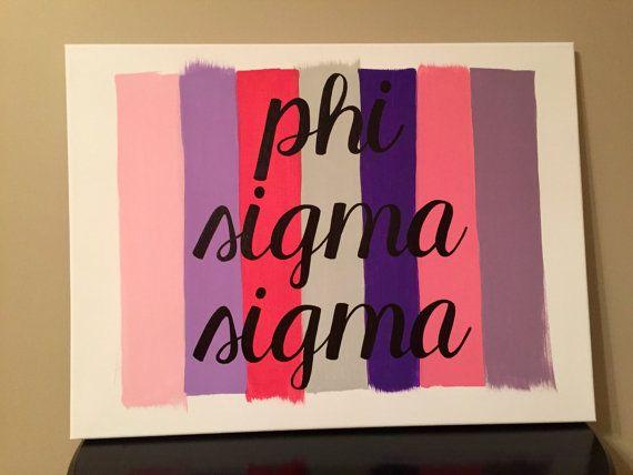 Paint Stroke Sorority Canvas: Phi Sigma Sigma // Greek Canvas // Sorority Canvas