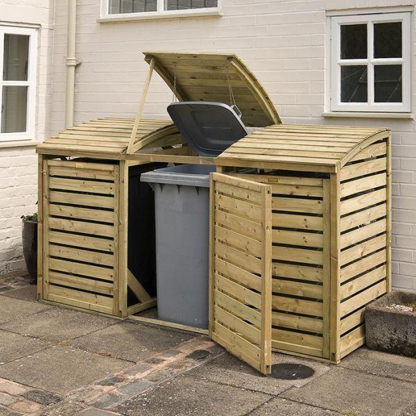 Rowlinson Triple Bin Store - Wheelie Bin Covers - Garden Storage