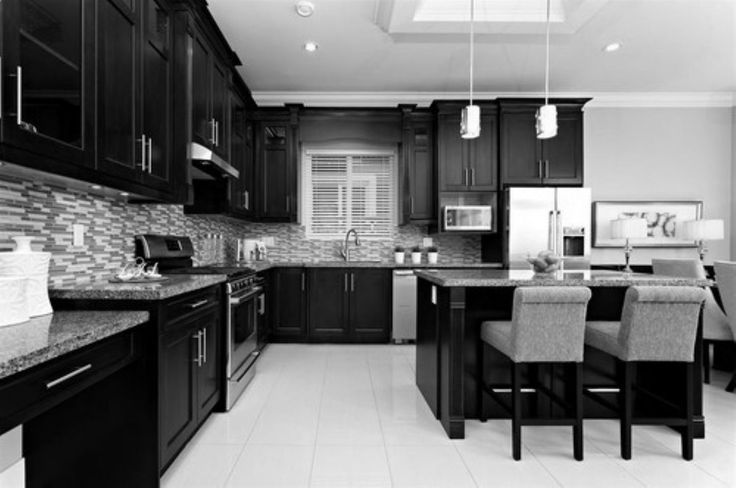 Love the dark expresso cabinets with the light tile floor. http://www.houzz.com/photos/2545414/Scratchley-Crescent-contemporary-kitchen-vancouver