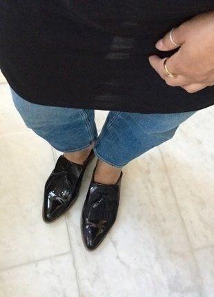 Kaufe meinen Artikel bei #Kleiderkreisel http://www.kleiderkreisel.de/damenschuhe/schlappen/136964330-mules-pantoletten-slipper-lack-schwarz-neu-asos-loafer