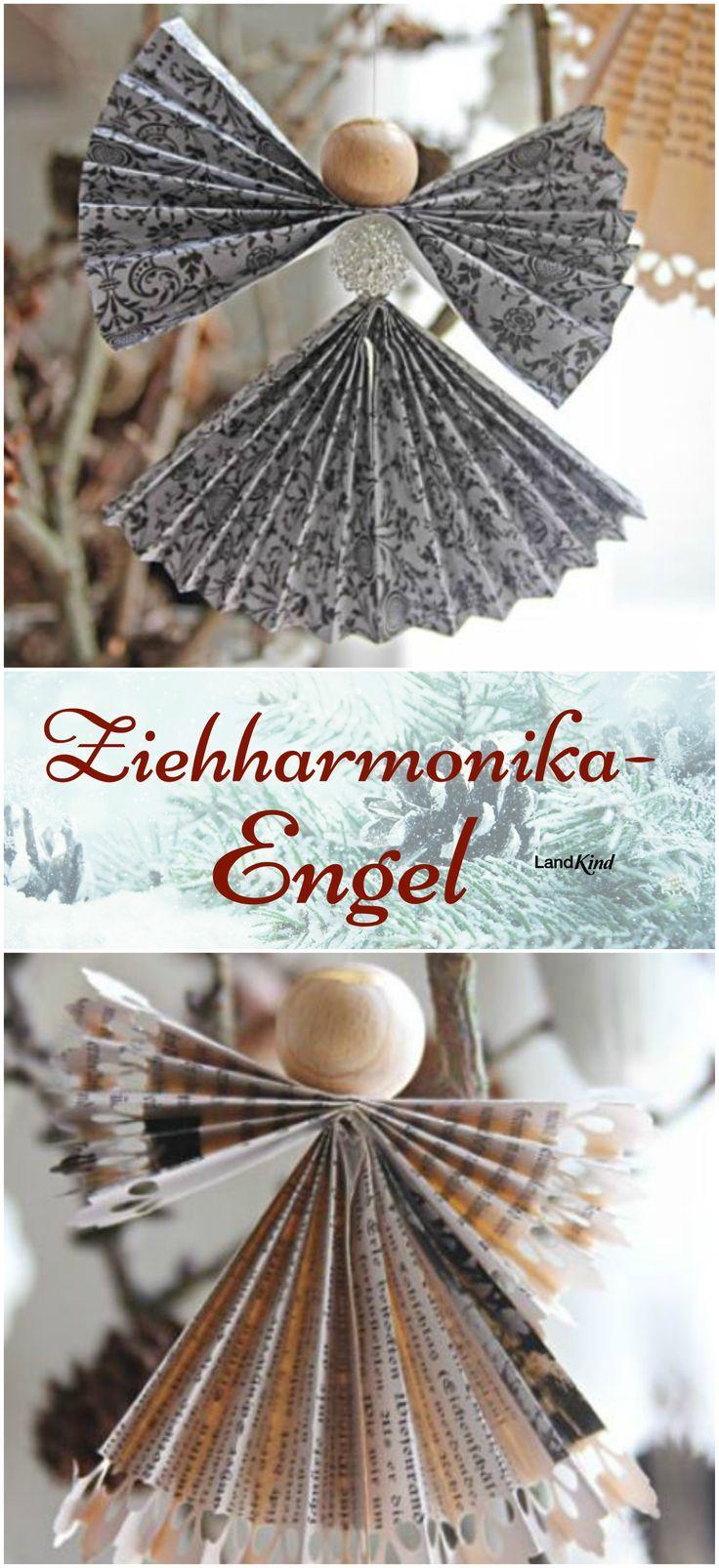 Die schnell gefalteten Ziehharmonika-Engel sind ein wunderschöner Baumschmuck, den auch kleine Bastler mit ein wenig Hilft bewältigen können. Besonders hübsch werden die Englein mit Notenpapier, Buchseiten oder Geschenkpapier.