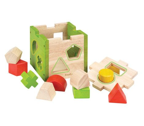 This classic shape sorting cube helps children develop fine motor skills and problem solving abilities. With chunky pieces that are easy to hold, it features a lift off lid to easily retrieve the pieces once they have been put through the holes. A classic educational toy made from sustainable plantation woods and coloured with non toxic paints.