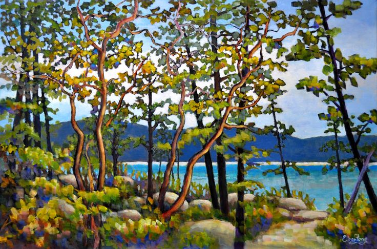 Arbutus Trees by the Shore by Eileen Fong
