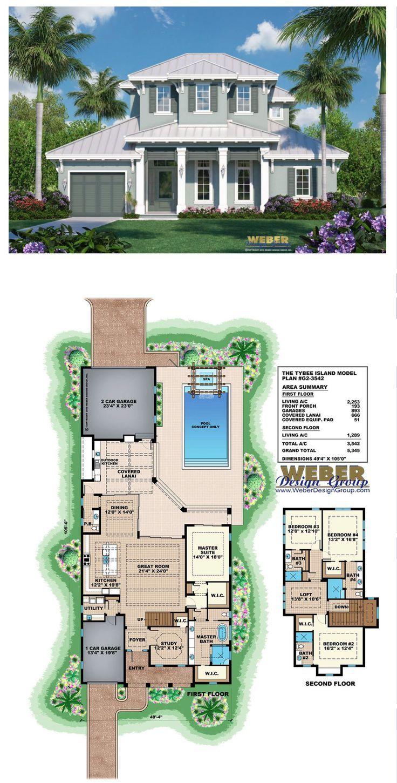 Beach House Plan Caribbean Florida Style Coastal Home Floor Plan Beach House Plans Island House Beach House Design