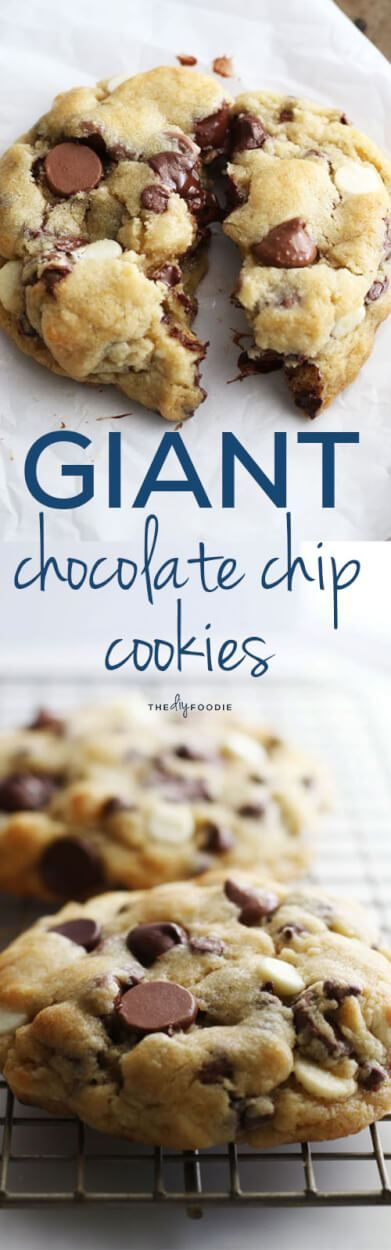Giant Chocolate Chip Cookies with 4 kinds of chocolate! You will not be able to handle the deliciousness.