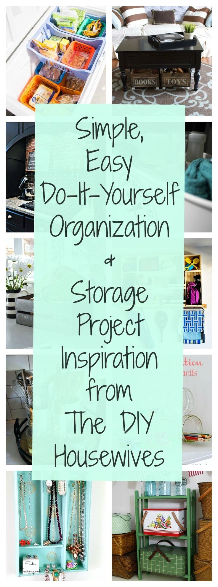 Want to create more storage solutions in your home? Or simply upgrade your organization game from room to room? These amazing do-it-yourself organizing and storage ideas from The DIY Housewives will help you get orderly from your garage, to your freezer; from office supplies to jewelry; and from your kitchen to your kid's toys! Check it out on Sadie Seasongoods / www.sadieseasongoods.com