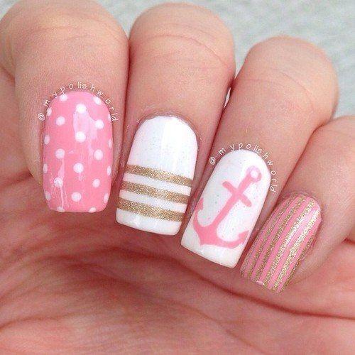 Anchor nails, Julynails, Marine nails, Nautical nails, Sea nails, Sea nails ideas, Shellac sea nails, Vacation nails