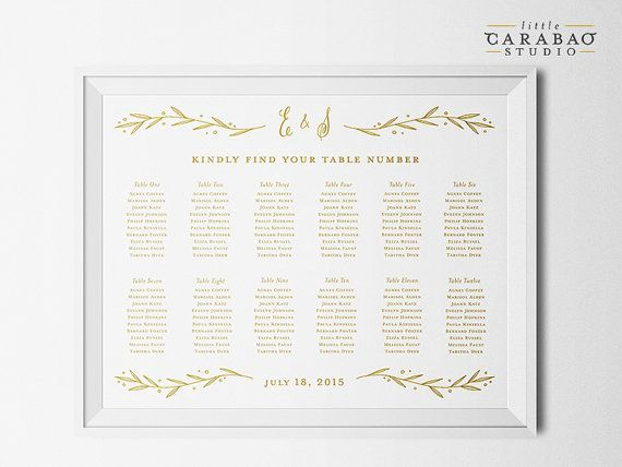 PRINTABLE Wedding Seating Chart Sign Calligraphy DIGITAL Seating Chart Poster Custom Wedding Sign - Little Carabao Studio - #009